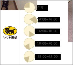配送時間指定でお選び頂ける時間は午前中、12〜14時、14時〜16時、16時〜18時、18時〜20時、20時〜21時です。