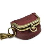 がま口で開く小銭入れが使いやすい、三つ折り財布 牛革 パラフィンレザー