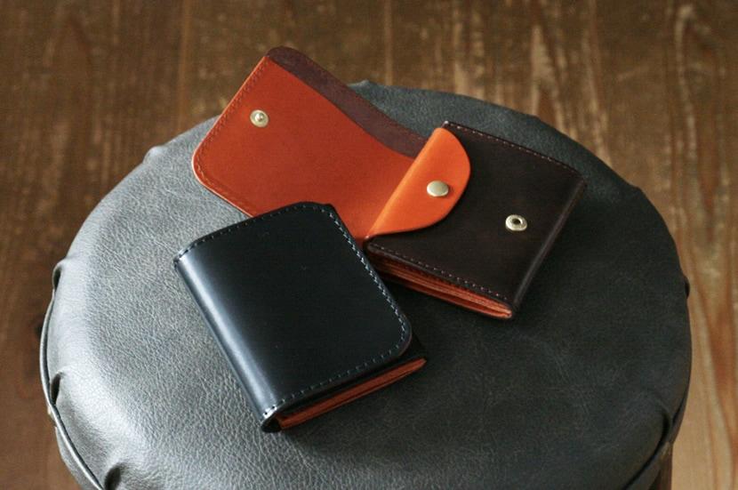 コードバンと栃木レザーの二つ折り財布