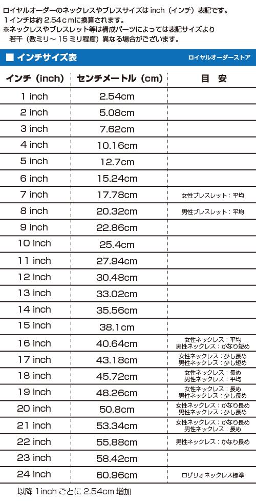 インチサイズ表