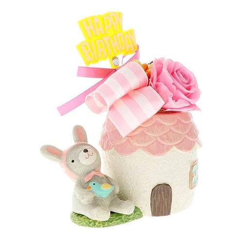 花器アレンジ HappyBirthday バースデー(アニマル花器) うさぎ ピンクの画像2