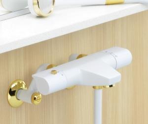 サーモスタットシャワー混合栓(ホワイト)