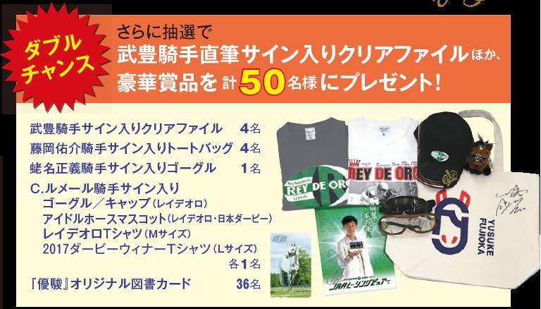 ダブルチャンスさらに抽選で武豊機種時期室サイン入りクリアファイル他豪華商品を計50名様にプレゼント!