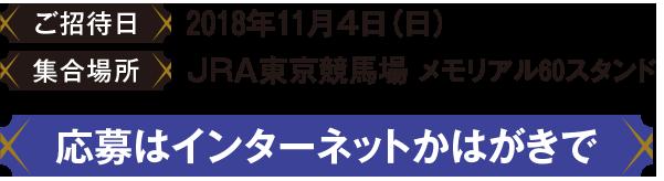 ご招待日2018年11月4日 場所JRA東京競馬場 応募はインターネットかはがきで