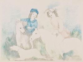 マリー・ローランサン 「乗馬する二人の若い娘」
