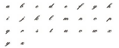 筆記体フォント見本:小文字