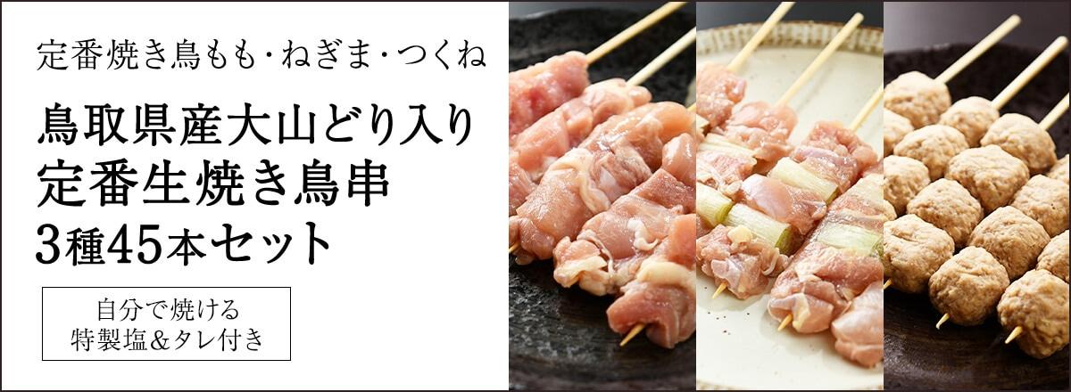 【送料無料】定番鳥取県産大山どり焼き鳥串3種どどんと45本セット もも串15本・ねぎま串15本・つくね串15本 【生タイプ】バーベキュー・パーティーにおすすめ!メインイメージ