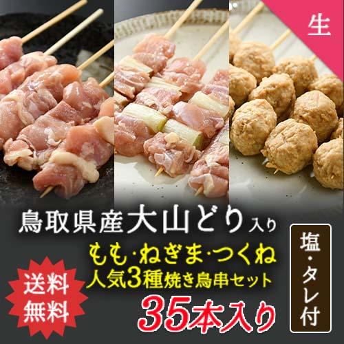 【送料無料】定番焼き鳥串3種40本セット【生タイプ】