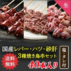 【送料無料】ツウな焼き鳥串3種40本セット【生タイプ】
