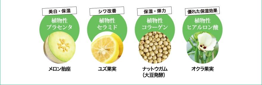 美白・保湿:メロン胎座/シワ改善:ユズ果実/保湿・弾力:ナットウガム(大豆発酵)/優れた保湿効果:オクラ果実