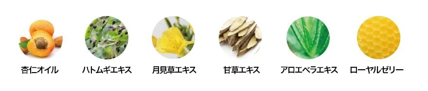杏仁エキス/ハトムギエキス/月見草エキス/甘草エキス/アロエベラエキス/ローヤルゼリー
