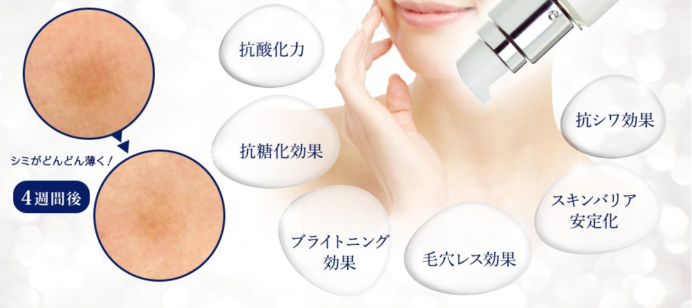 抗酸化力 抗糖化効果 ブライトニング効果 毛穴レス効果 スキンバリア安定化 抗シワ効果