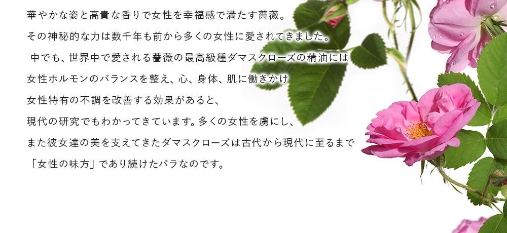 華やかな姿と高貴な香りで女性を幸福感で満たす薔薇。その神秘的な力は数千年も前から多くの女性に愛されてきました。中でも、世界中で愛される 薔薇の最高級種ダマスクローズの精油には女性ホルモンのバランスを整え、心、身体、肌に働きかけ女性特有の不調を改善する効果があると、現代の研究でもわかってきています。多くの女性を虜にし、また彼女達の美を支えてきたダマスクローズは古代から現代に至るまで「女性の味方」であり続けたバラなのです。