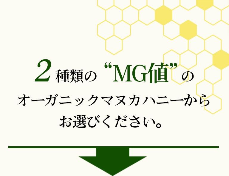 2種類のMG値の オーガニックマヌカハニーからお選びください。