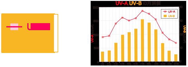 UV-A、UV-Bの月別値