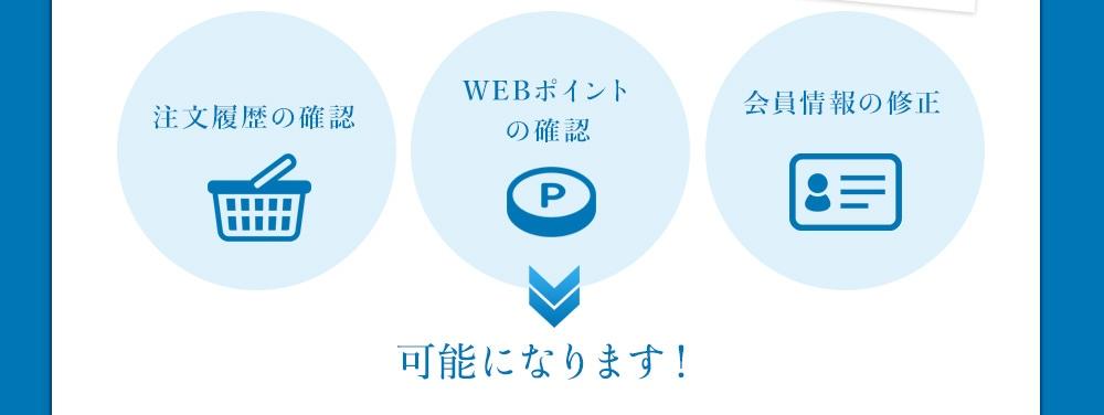 注文履歴の確認、WEBポイントの確認、会員情報の修正が可能になります