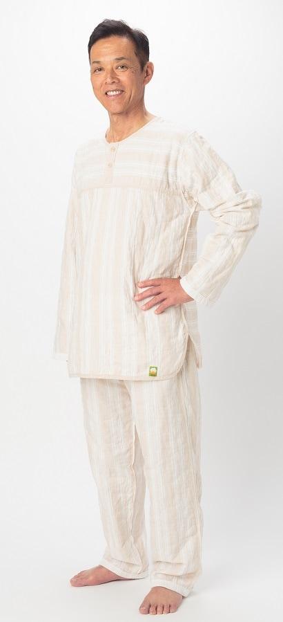 薄いパシーマ生地 長袖長ズボン パシーマパジャマ 史上初 ピュアガーゼ 色柄 アトピーやアレルギー敏感肌の方