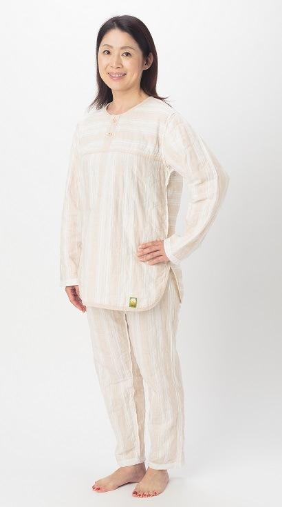 長袖、長パンツ パシーマパジャマ 薄いパシーマ生地 史上初 色柄 ピュアベージュ アトピーやアレルギー敏感肌