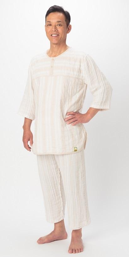七分袖、七分丈パンツ パシーマパジャマ 薄いパシーマ生地 Wガーゼ 史上初 色柄 ピュアベージュ アトピーやアレルギー敏感肌