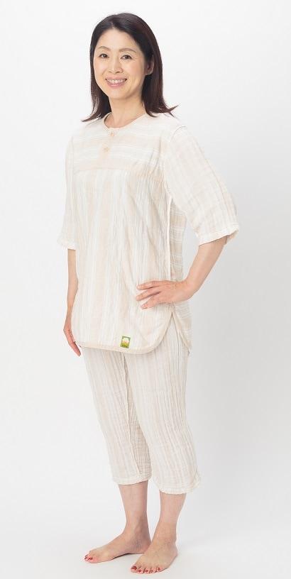 薄いパシーマ生地 Wガーゼ 七分袖 七分丈ズボン パシーマパジャマ 史上初 ピュアガーゼ 色柄 アトピーやアレルギー敏感肌の方