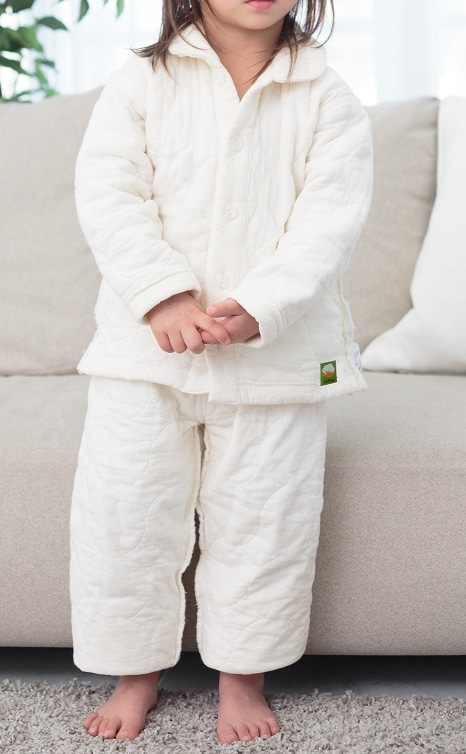 冬用パシーマパジャマ キナリムジ ベビー子供用  アトピーパジャマ ふわふわ やわらか 肌にやさしい 縫い代を表側に出した縫製 工夫 こだわり 喘息 アレルギー