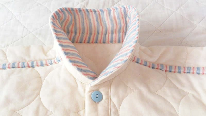 パシーマパジャマ ベビー衿立て 冬用パシーマパジャマ  キナリムジ ベビー子供用 ピンクブルーアクセント  アトピーパジャマ