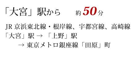 大宮駅から約50分 JR大宮駅から上野駅で東京メトロ銀座線に乗換えて田原町下車