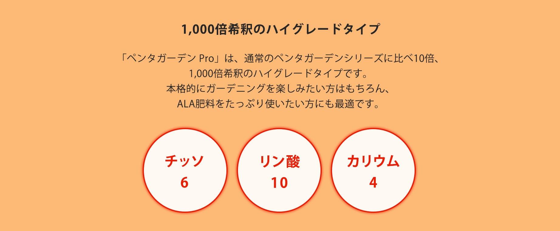 「ペンタガーデン Pro」は、通常のペンタガーデンシリーズに比べ10倍、1,000倍希釈のハイグレードタイプです。本格的にガーデニングを楽しみたい方はもちろん、ALA肥料をたっぷり使いたい方にも最適です。