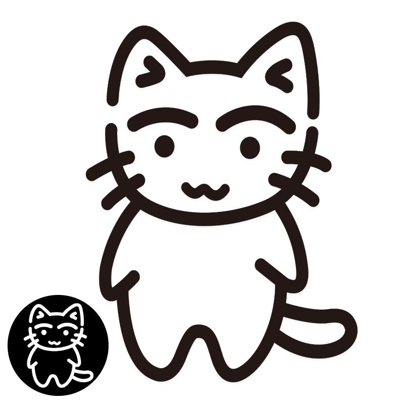 ねこ ステッカー 子猫立ち