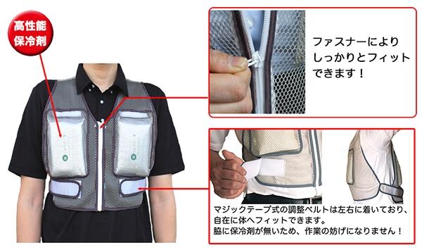 保冷ベスト「ホレイベスト」着用写真。ファスナーにより、しっかりとした造りになりました!調整ベルトは左右についており、フィット感が倍増。脇に保冷剤が無いので作業性が大幅に向上しています。