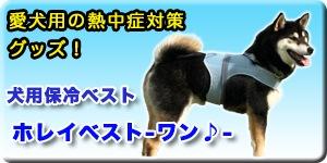 愛犬用の熱中症対策グッズに犬用保冷ベスト「ホレイベスト-ワン♪-」ボタン