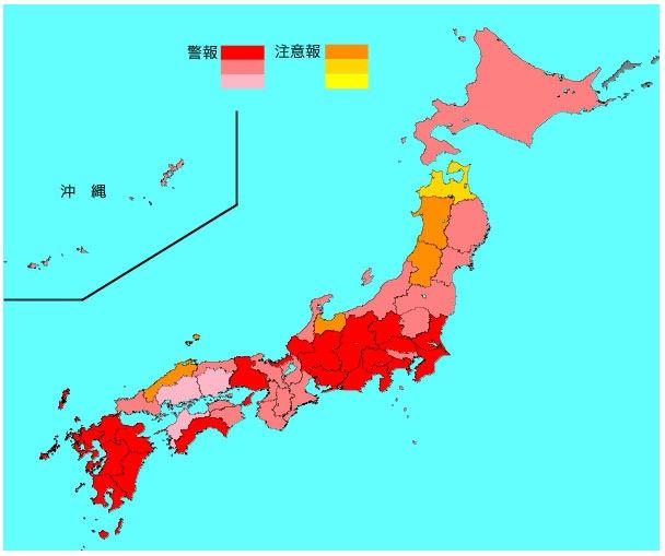 インフルエンザ流行レベルマップ(2019年1月16日現在)