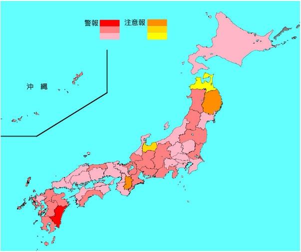 インフルエンザ流行レベルマップ(2020年2月5日現在)