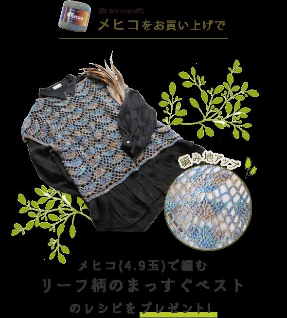 「メヒコ」をお買い上げで「リーフ柄のまっすぐベスト」のレシピをプレゼント!