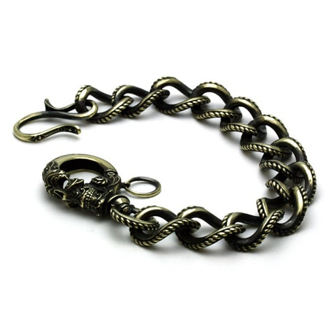 Gleed Skull Walletchain Brass / ガーネット