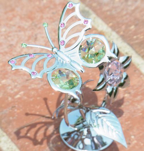 誕生日プレゼント/スワロフスキー/蝶と花の置物2-1