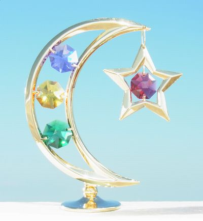 誕生日プレゼント/スワロフスキー/月と星の置物11-1