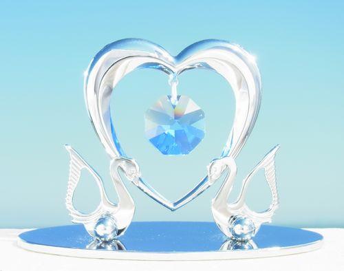 誕生日プレゼント/スワロフスキー/二匹の白鳥とハートの置物11-1