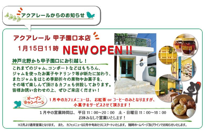 アクアレール甲子園口本店 1月15日11時 NEW OPEN !