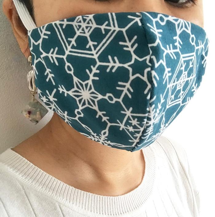 手ぬぐい立体マスク「雪の結晶」