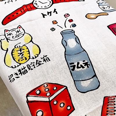 手ぬぐい「駄菓子屋の夢」昭和レトロ