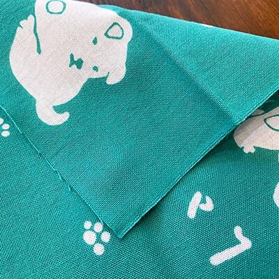 手ぬぐい「Happy小犬」緑