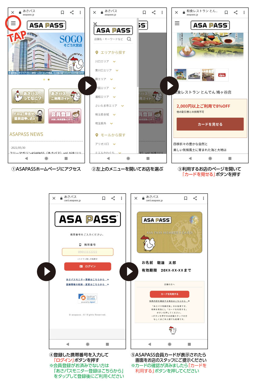 ASAPASSカードの表示方法