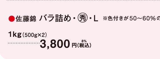 佐藤錦 バラ詰め・○秀・L|※色付きが50〜60%のため、贈答には向きません。ご自宅用としてお楽しみください。 1kg(500g×2) 3,800円