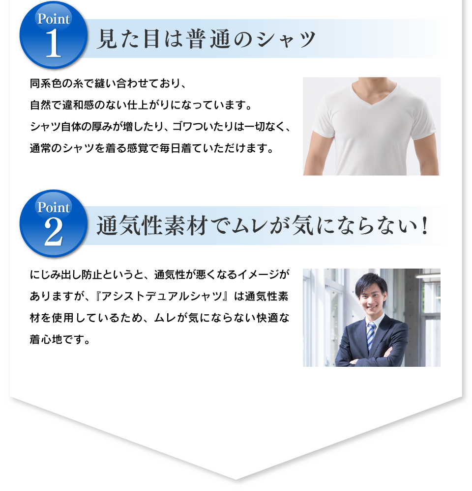 1.見た目は普通のシャツ 2.吸水布は抗菌加工で防臭効果も! 3.通気性素材でムレが気にならない!