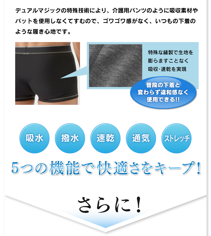 デュアルマジックの特殊技術により、介護用パンツのように吸収素材やパットを使用しなくてすむので、ゴワゴワ感がなく、いつもの下着のような履き心地です。