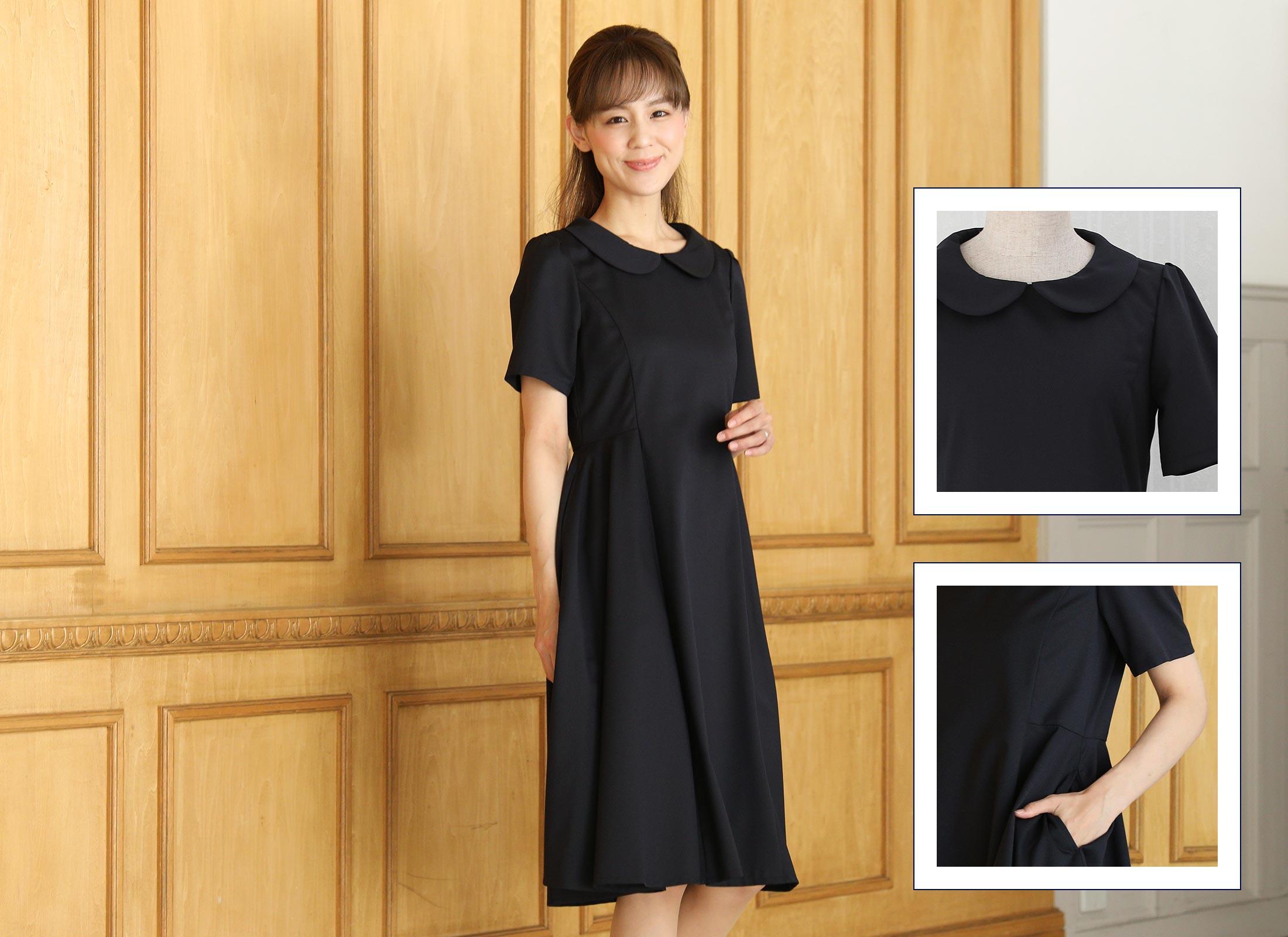 丸襟フレアスカートドレス