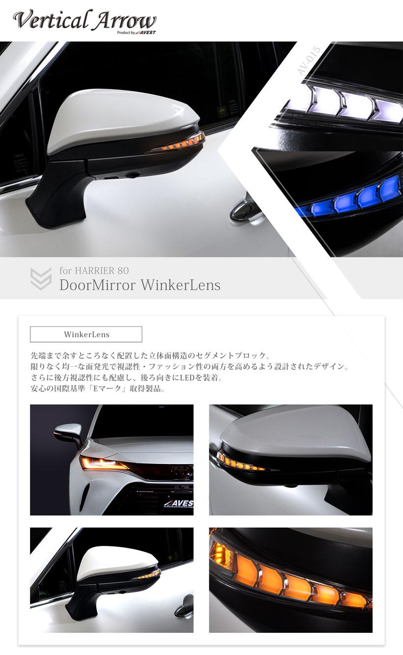 ハリアー80系/LED/流れる/ドアミラーウインカー