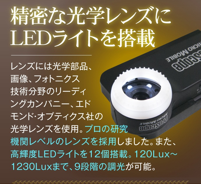 精密な光学レンズとLEDライトを搭載!