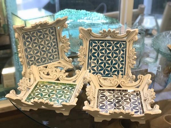 トレイ/モザイクガラスのトレイ/モザイクガラス/アジアンキッチン雑貨